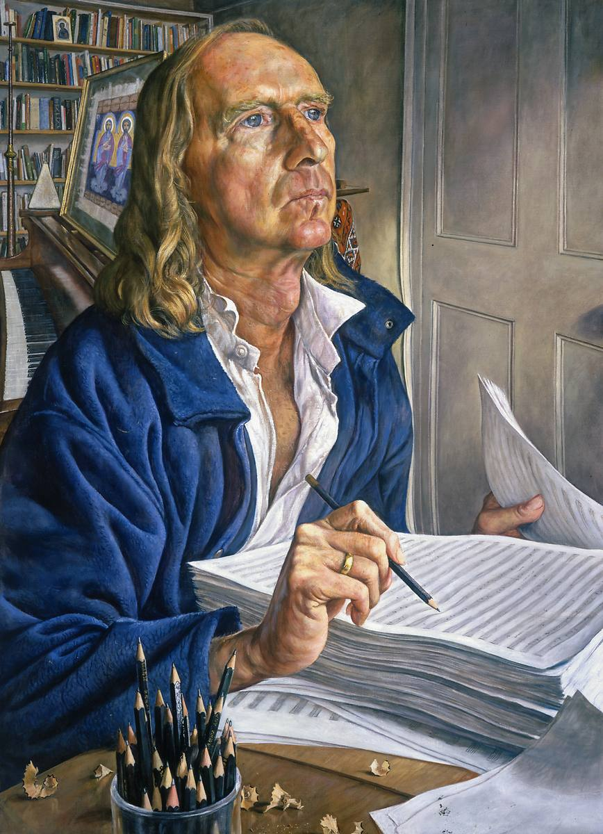 Small portrait painting with a detailed interior of composer, Michael Taverner, by Michael Taylor