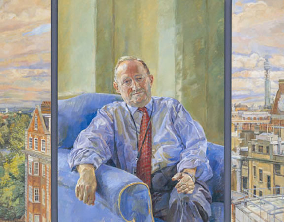 Daphne Todd 'The Rt. Hon. The Lord Tugendhat, Chairman 1991-2001' (2001). 42 x 52 ins. Oil on three panels.