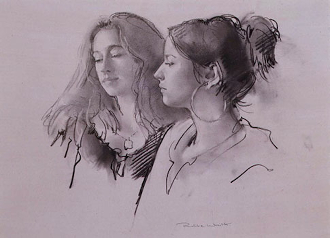 Robbie Wraith 'Charlotte & Magdalena'. 14 x 20 ins. Charcoal