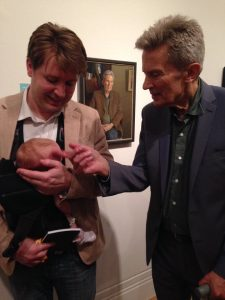 Benjamin Sullivan with his son and Hugo Williams at BP award at the National Portrait Gallery