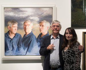 Sir Tom Courteney with Isobel Peachey at the Royal Society of Portrait Painters' Private View. Photo Hannah Burton