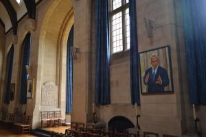 Wasim Sajjad's portrait by Anthony Connolly in Milner Hall for the Rhodes Trust