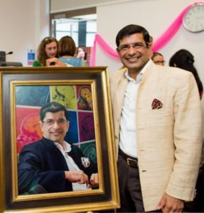 Professor Kapur at the unveiling of his portrait by Paul Brason