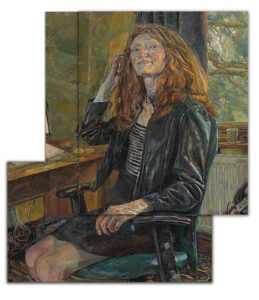 portrait prize winner Daphne Todd, Professor Susan Smith, Mistress of Girton, a portrait in a non rectangular format