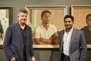 Antony Williams RP NEAC PS and Kumar Sangakkara, former Sri Lankan Cricket Captain. Phoro by Alick Cotterill