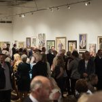 Crowds in the main gallery at the Royal Society of Portrait Painters 2018
