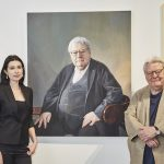 Artist, Hero Johnson and Sir Alan Parker with his portrait