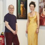 John Burke with the Yellow Wedding Dress and its wearer