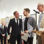 Royal Society of Portrait Painters' 2018 Private View Shawn McGovern with Xavier Bray and Richard Foster
