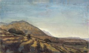 Toby Wiggins 'Down the shady side to the Bad Mountains' oil on board 19x31cm