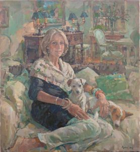 Susan Ryder - Portrait of a Lady with her two Jack Russell Terriers