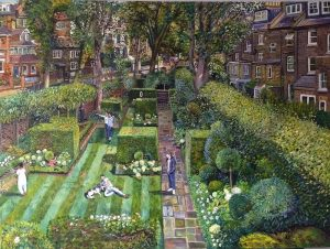 Melissa Scott-Miller - Portrait of a Family with their Dog in the garden