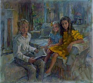 Susan Ryder 'Olivia, Ben and Annabel' group portrait commission