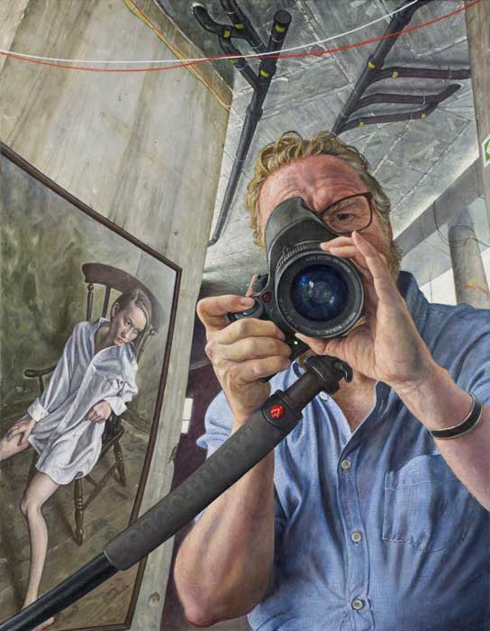 Michael Taylor 'Portrait of the photographer with seated girl' A painted portrait of a portrait photographer