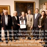 Fredererick Hervey Marquess Of Bristol, Simon Dickinson, Jessica Dickinson, Rebecca H.Nacol, William Bortrick, Stephen H. Nacol, Amy Warner, Mark Ayre with the Burke's Peerage Foundation Award for 'Rose at Houghton' by Phoebe Dickinson . Photo Must Be Credited ©Edward Lloyd/Alpha Press 080000 08/05/2019