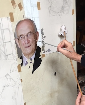 Paul Brason at work on the portrait of Sir Leszek Borysiewicz , Vice-Chancellor of Cambridge University- Detail