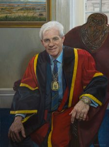 Mark Roscoe 'Professor David Galloway' with robes and chain of office