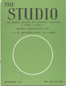 The cover of Studio Magazine 1945 with an article by Herbert A Oliver about the history of the Royal Society of Portrait Painters