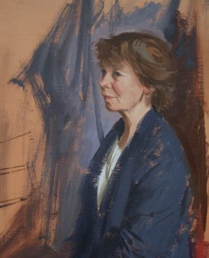 A portraiAn oil portrait of the actor Celia Imrie