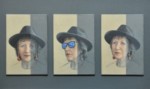 A small portrait triptych of Elizabeth Meek, President of the Royal Society of Miniature Painters