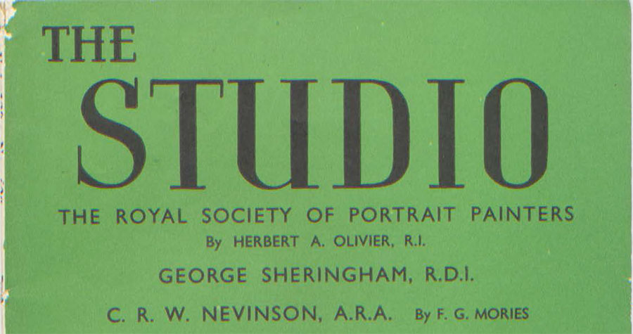 Front page of The Studio magazine featuring the Royal Society of Portrait Painters